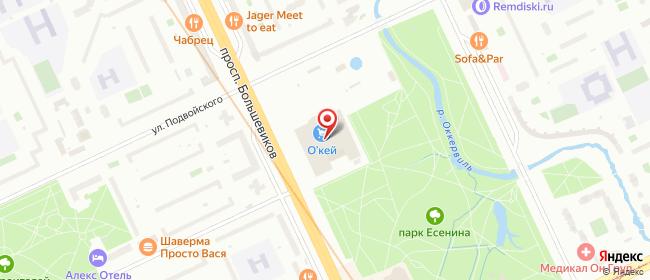 Карта расположения пункта доставки Санкт-Петербург Большевиков в городе Санкт-Петербург