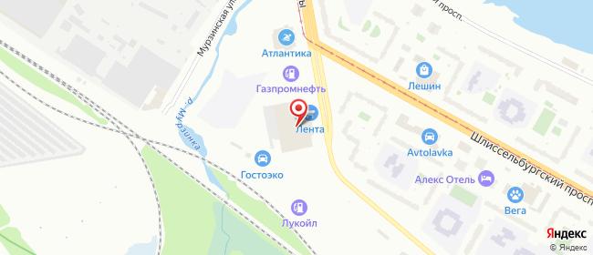Карта расположения пункта доставки Санкт-Петербург Обуховской Обороны в городе Санкт-Петербург