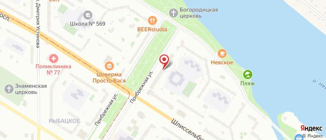 Карта расположения пункта доставки Рыбацкое в городе Санкт-Петербург