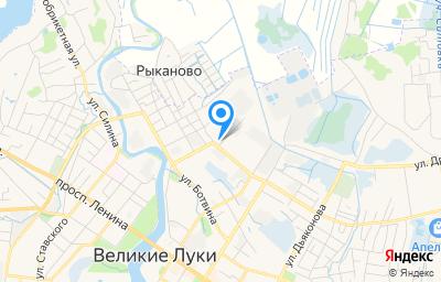 Местоположение на карте пункта техосмотра по адресу Псковская обл, г Великие Луки, ул 3 Ударной Армии, д 68