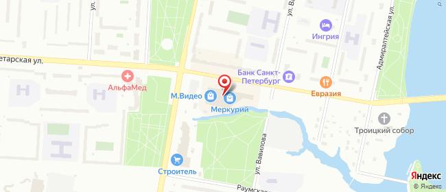 Карта расположения пункта доставки Билайн в городе Колпино