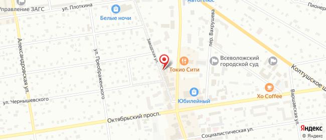Карта расположения пункта доставки СИТИЛИНК в городе Всеволожск