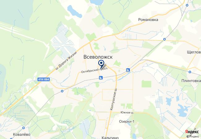 Расположение клиники «Династия» во Всеволожске
