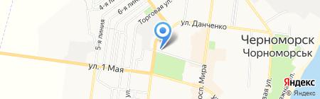 Рыболов на карте Ильичёвска
