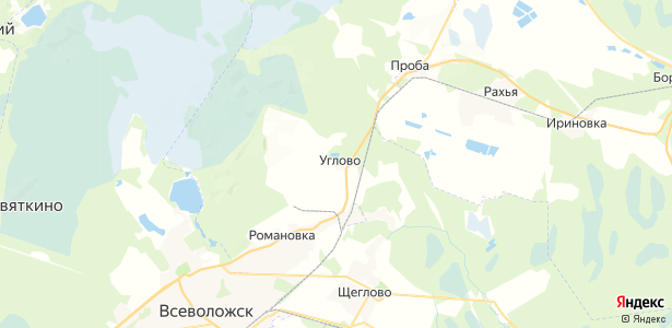 Углово на карте