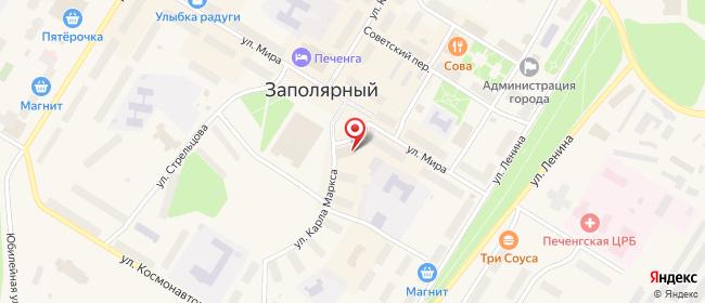 Карта расположения пункта доставки Ростелеком в городе Заполярный