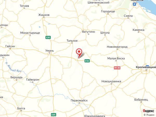 поселок городского типа Новоархангельск на карте