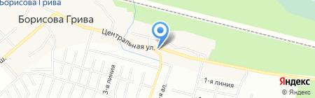 Магазин пиломатериалов на Центральной на карте Борисовой Гривы