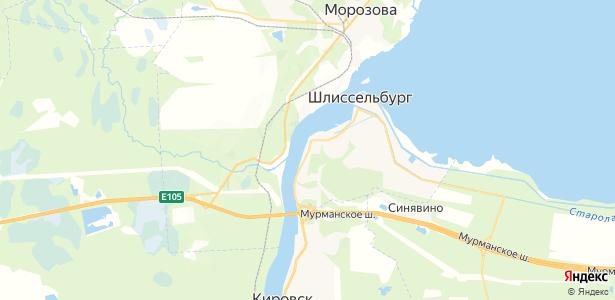 Шлиссельбург на карте