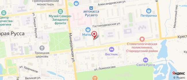 Карта расположения пункта доставки Старая Русса Профсоюзная в городе Старая Русса