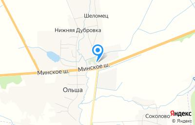 Местоположение на карте пункта техосмотра по адресу Смоленская обл, Смоленский р-н, с Ольша, ул Садовый переулок - I, д 1В