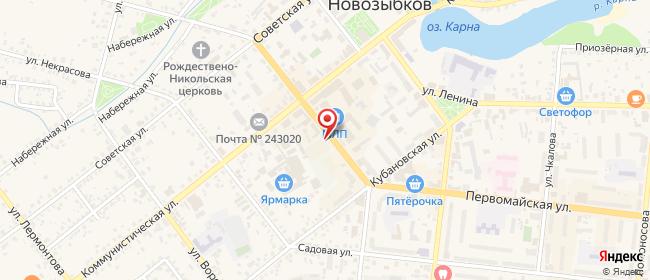 Карта расположения пункта доставки Билайн в городе Новозыбков