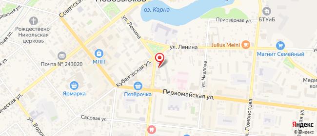 Карта расположения пункта доставки Новозыбков Комсомольская в городе Новозыбков