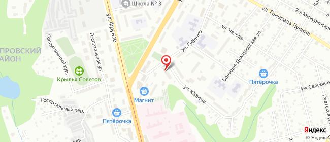 Карта расположения пункта доставки На Юрьева в городе Смоленск