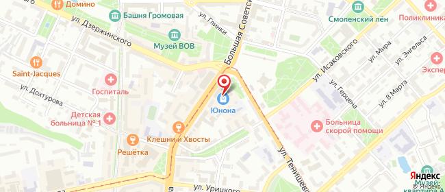 Карта расположения пункта доставки Смоленск Гагарина в городе Смоленск