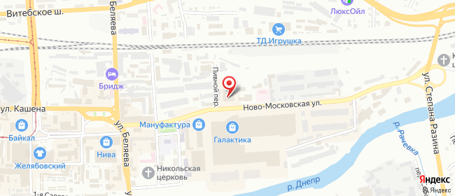 Карта расположения пункта доставки Смоленск Ново-Московская в городе Смоленск
