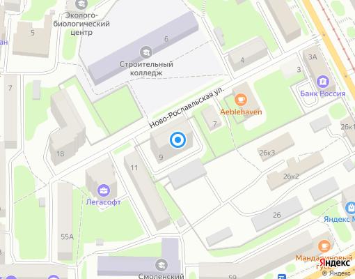 Товарищество собственников недвижимости «Ново-Рославльская, 9» на карте Смоленска