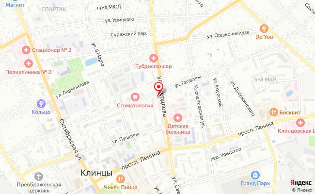 Карта расположения пункта доставки Халва в городе Клинцы