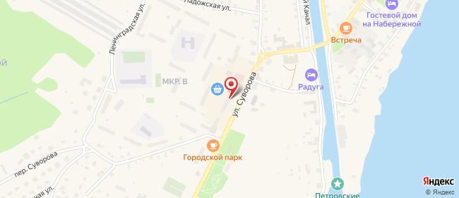 Карта расположения пункта доставки Новая Ладога Суворова в городе Новая Ладога