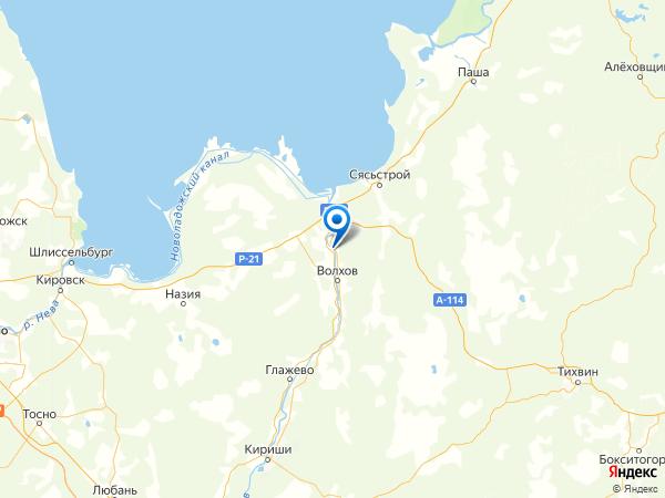 коттеджный поселок Волхов Яр на карте