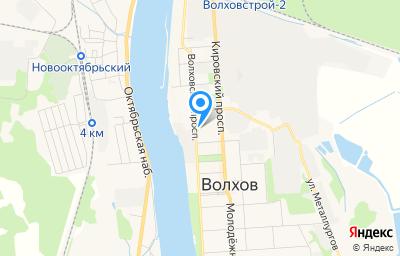 Местоположение на карте пункта техосмотра по адресу Ленинградская обл, г Волхов, пр-кт Волховский, д 21Б