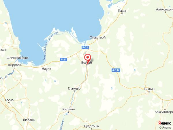 Волхов на карте