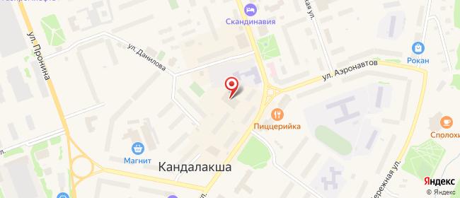 Карта расположения пункта доставки Билайн в городе Кандалакша