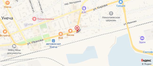 Карта расположения пункта доставки Халва в городе Унеча