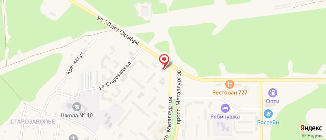 Карта расположения пункта доставки Ярцево Металлургов в городе Ярцево