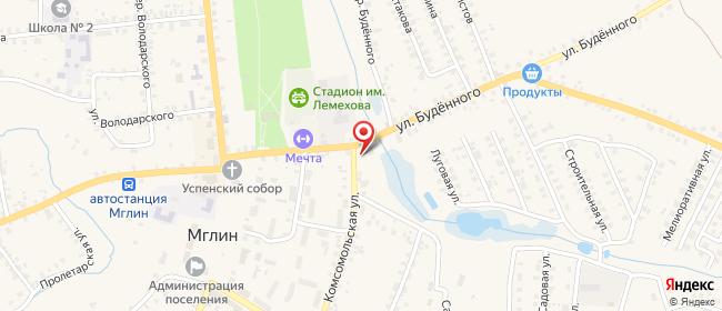 Карта расположения пункта доставки Халва в городе Мглин