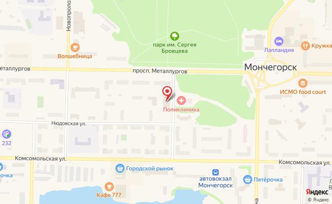 Карта расположения пункта доставки Ростелеком в городе Мончегорск