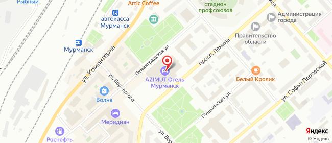 Карта расположения пункта доставки Мурманск Ленина в городе Мурманск