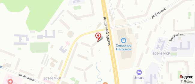 Карта расположения пункта доставки Мурманск Кольский в городе Мурманск