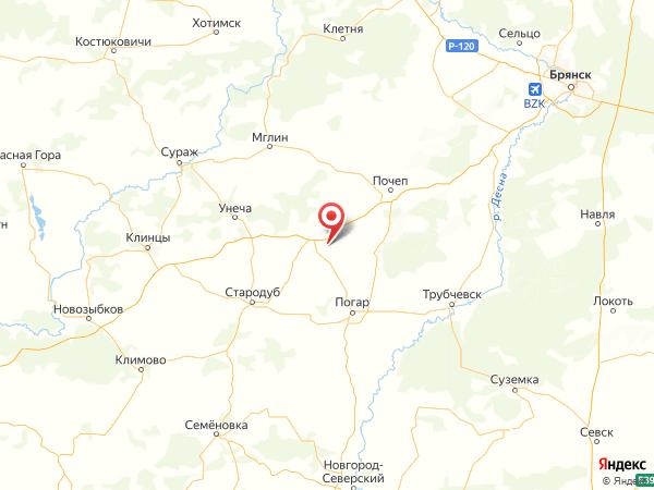 деревня Вишневое на карте