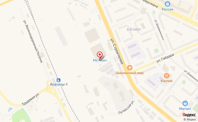 Карта расположения пункта доставки Халва в городе Апатиты