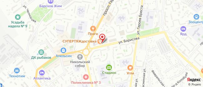 Карта расположения пункта доставки На Борисова в городе Севастополь