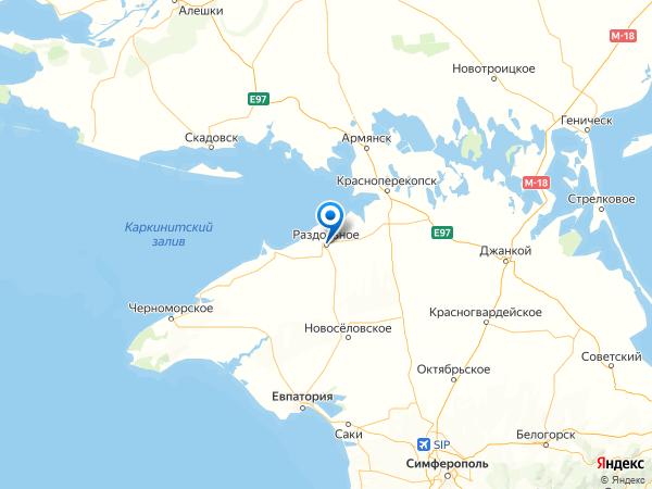 поселок городского типа Раздольное на карте
