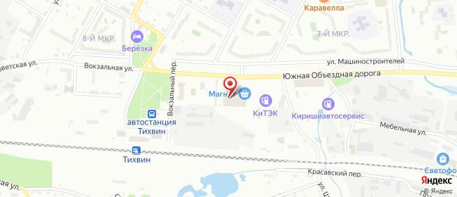Карта расположения пункта доставки На Машиностраителей в городе Тихвин