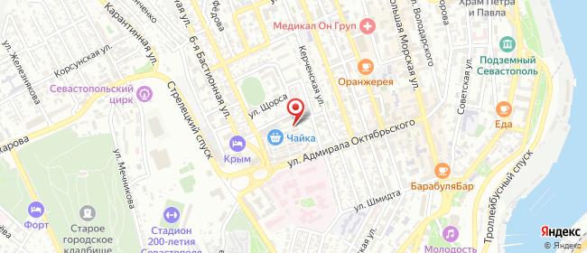Карта расположения пункта доставки Севастополь Адмирала Октябрьского в городе Севастополь