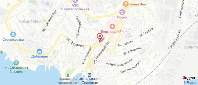 Карта расположения пункта доставки Северная сторона в городе Севастополь