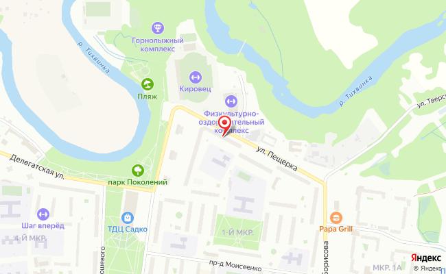 Карта расположения пункта доставки Тихвин 1 мкр в городе Тихвин