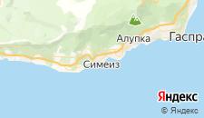 Гостиницы города Симеиз на карте
