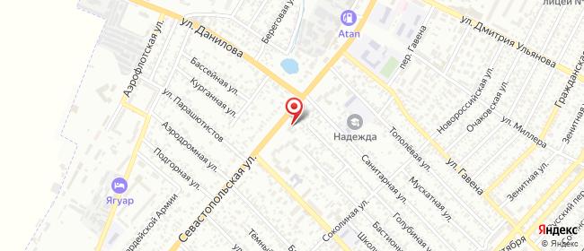 Карта расположения пункта доставки На Севастопольской в городе Симферополь