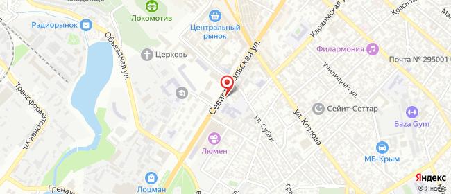 Карта расположения пункта доставки Симферополь Севастопольская в городе Симферополь