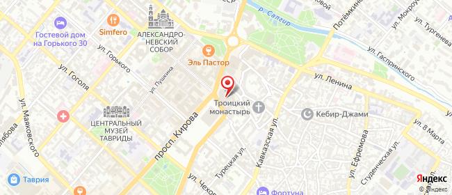 Карта расположения пункта доставки Симферополь Кирова в городе Симферополь