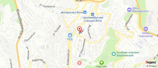 Карта расположения пункта доставки Ялта Дзержинского в городе Ялта