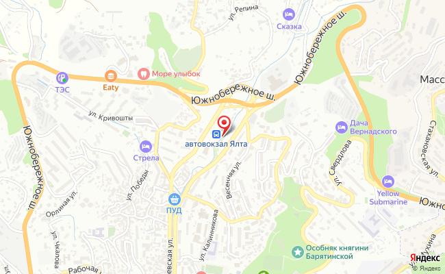 Карта расположения пункта доставки Ялта Московская в городе Ялта