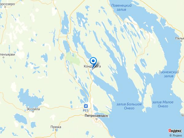 Кондопога на карте