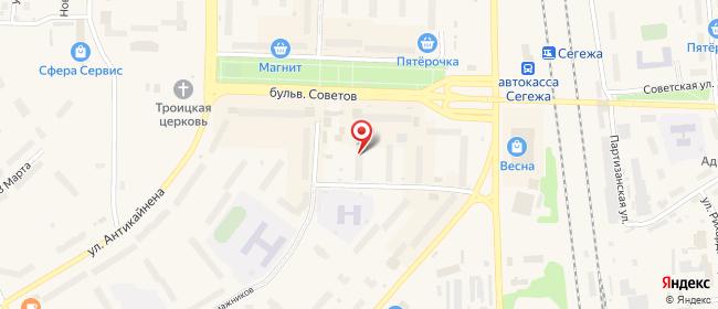Карта расположения пункта доставки пр-д. Бумажников в городе Сегежа