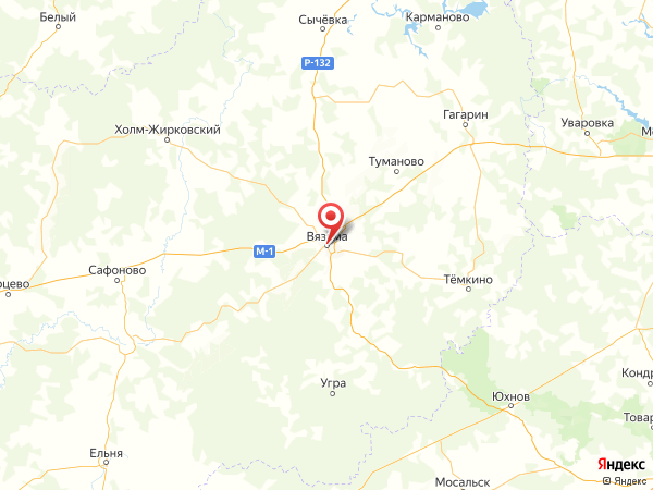 Вязьма на карте